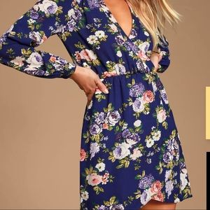 NEW Lulu's Wrap Navy Floral Print Dress